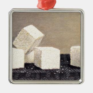 Cubes en sucre ornement carré argenté