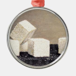 Cubes en sucre ornement rond argenté
