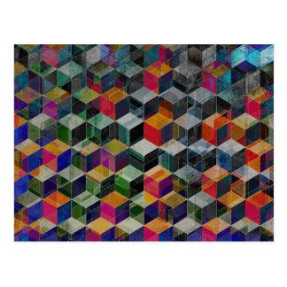 Cubes géométriques vintages carte postale
