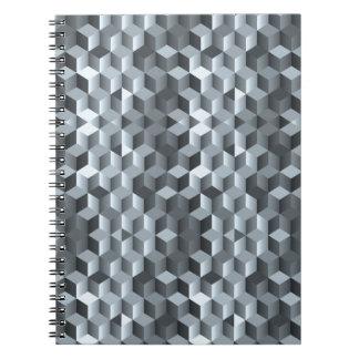 Cubes gris, formes géométriques, conception carnet