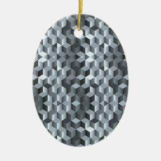 Cubes gris, formes géométriques, conception ornement ovale en céramique