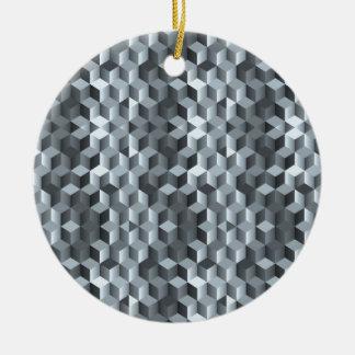 Cubes gris, formes géométriques, conception ornement rond en céramique