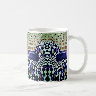 Cubes tordus noirs et blancs peints à la main mug