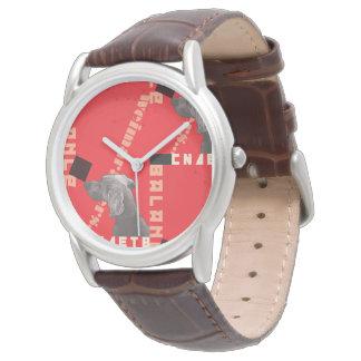Cuir de brun de la montre des hommes ROUGES du