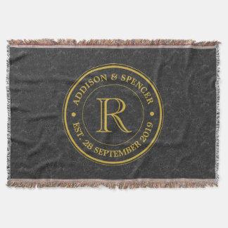 Cuir de noir de monogramme d'or d'anniversaire de couvre pied de lit