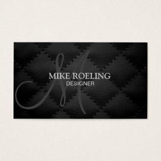 Cuir moderne élégant professionnel de monogramme cartes de visite