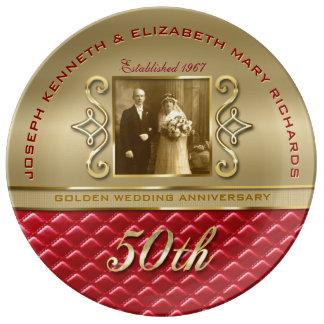 Cuir rouge piqué par or d'or d'anniversaire assiettes en porcelaine
