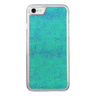 Cuir végétalien bleu au néon d'échelle de sirène coque carved pour iPhone 7
