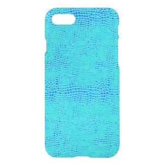Cuir végétalien bleu au néon d'échelle de sirène coque iPhone 7