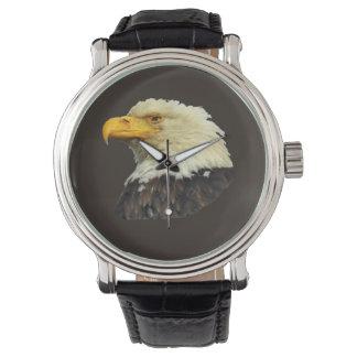Cuir vintage de noir de la montre des hommes avec