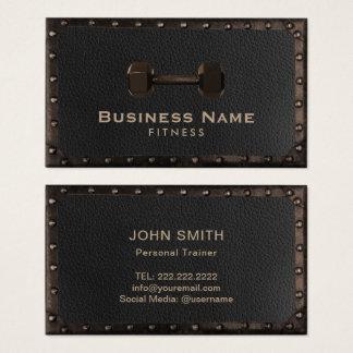 Cuir vintage et métal d'entraîneur personnel de cartes de visite