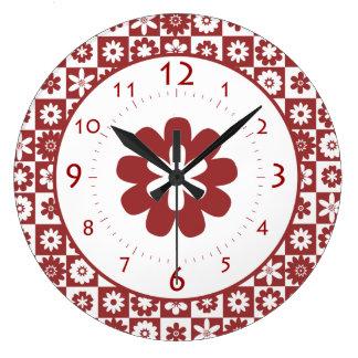 Cuisine rouge et blanche horloges cuisine rouge et blanche horloges murales - Cuisine americaine ronde ...
