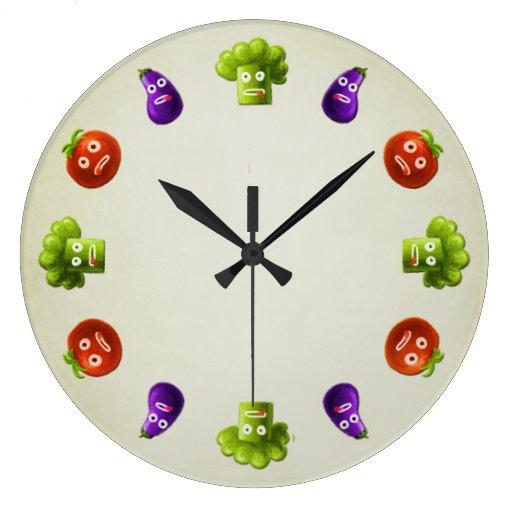 Cuisine drôle de légumes de bande dessinée pendule murale