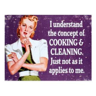 Cuisine et nettoyage carte postale