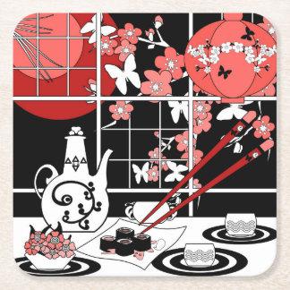 Cuisine japonaise dessous-de-verre carré en papier