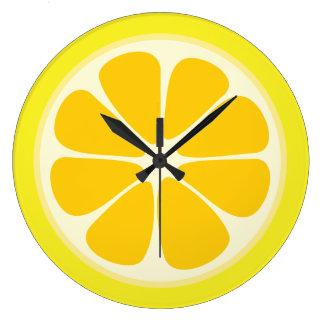 Cuisine juteuse de tranche de fruit tropical de grande horloge ronde