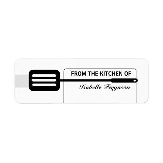 Cuisine noire de spatule étiquette d'adresse retour