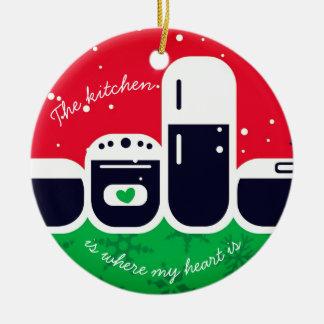 Cuisine où mon coeur est ornement d'arbre de Noël