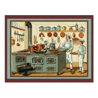 Cuisiniers de cru dans la cuisine cartes postales