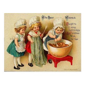 Cuisson d'une carte postale de cru de pudding de