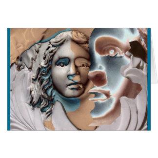 Cuivre de bleu de visage d'urne carte de vœux