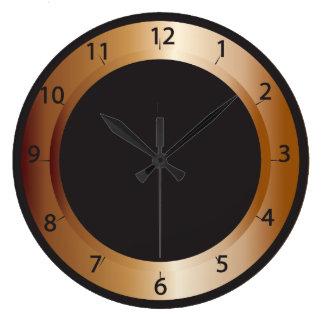 Cuivre et conception de noir grande horloge ronde