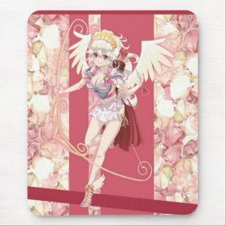 Cupidon angélique d'Anime - rose, sur des roses Tapis De Souris