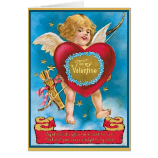 Cupidon vintage et coeur en nuages carte de vœux