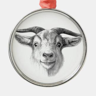 Curious goat  G124 Ornement Rond Argenté