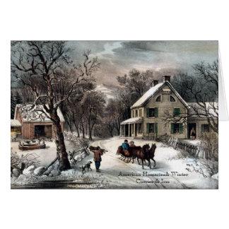 Currier et Ives - carte de voeux - hiver de ferme