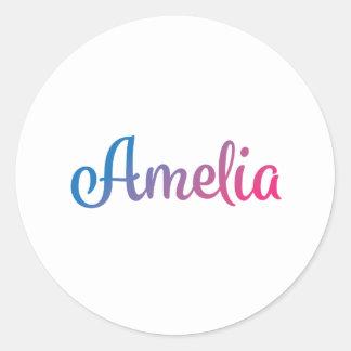 Cursive élégant d'Amelia Sticker Rond
