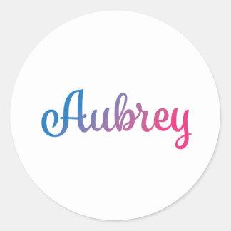 Cursive élégant d'Aubrey Sticker Rond
