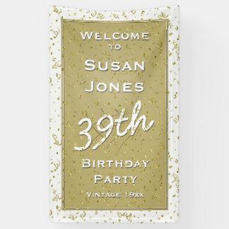 Customisez l'âge d'anniversaire - blanc/or banderoles