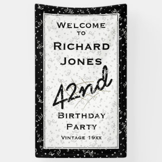 Customisez l'âge d'anniversaire - noir/blanc banderoles
