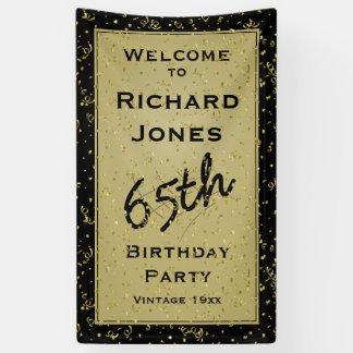 Customisez l'âge d'anniversaire - noir/or banderoles