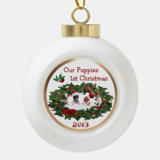 Customisez-le - le ęr collage #2 de Noël de chiots Boule En Céramique