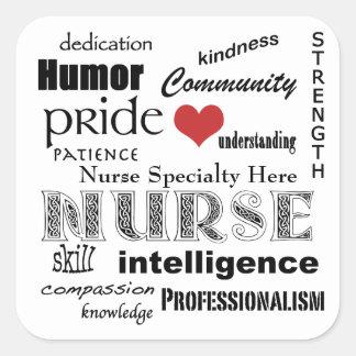Customisez vos Type-Attributs d'infirmière+Coeur Sticker Carré