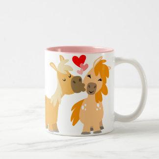 Cute Cartoon Ponies in Love mug