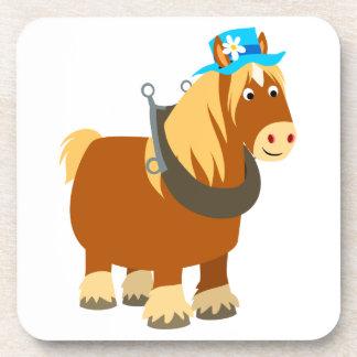 Cute Cartoon Trait Breton Horse Coasters Set