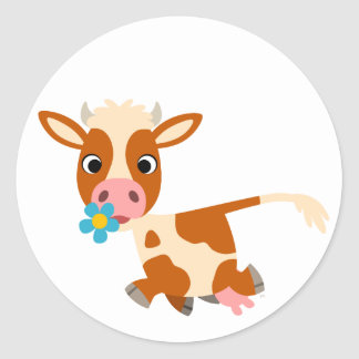 Cute Cartoon Trotting Cow  Sticker