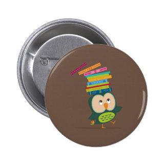 Cute little book owl badge