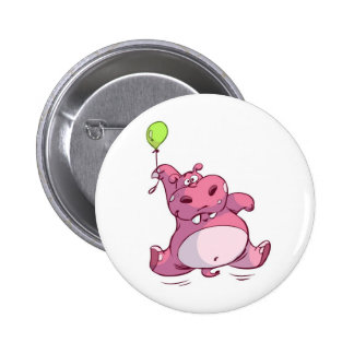 CUTE PINK HIPPO ON BALLOON PINBACK BUTTON