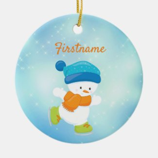 Cute snowbaby blue and orange ice skating ceramic ornament