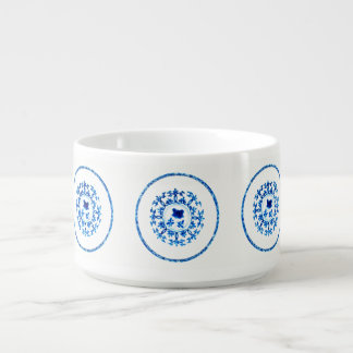 Cuvette blanche bleue bol pour chili