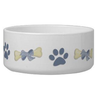 Cuvette bleue de chien de pattes d'os gamelle pour chien
