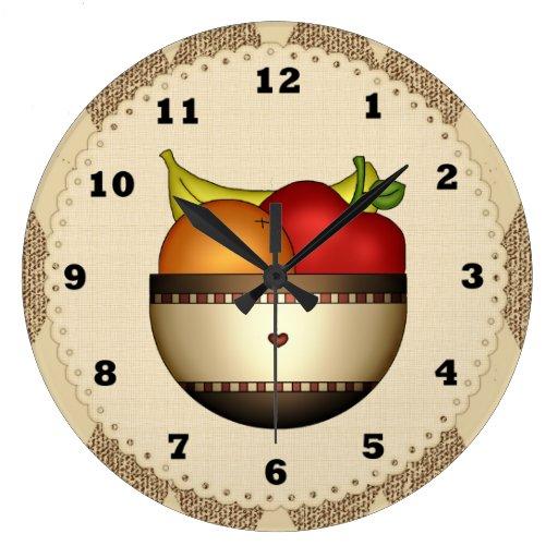 cuvette d 39 horloge de cuisine du fruit 2 grande horloge. Black Bedroom Furniture Sets. Home Design Ideas