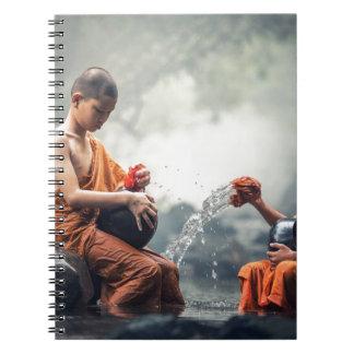 Cuvettes de lavage de moines bouddhistes carnets à spirale