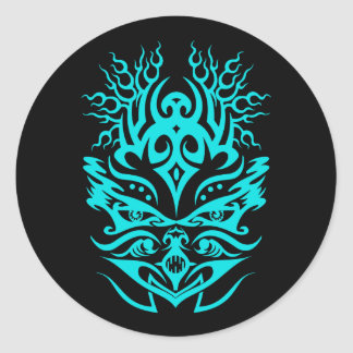 Cyan principal tribal sticker rond