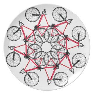 Cycle de bicyclette assiettes en mélamine