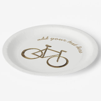 Cycliste de recyclage de bicyclette de vélo d'or assiettes en papier